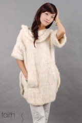 White Mink Fur Kintted Vest/Coat