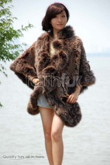 Rabbit Fur Knitted Cape with Fox Fur Fully trimmed