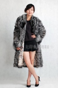 Silver Fox fur Long Coat/Overcoat