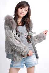 Hooded Rabbit Fur Knitted Jacket with Racoon Fur trimmed