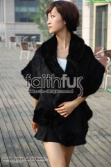 Waved Mink Fur Knitted Shawl