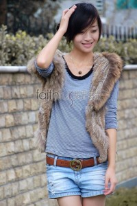 Rabbit Fur Knitted Vest with Racoon Fur trimed