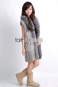 Rabbit Fur Knitted Vest with Fox Fur trimed