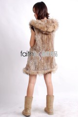 Hooded Rabbit Fur Knitted Vest with Racoon Fur trimed