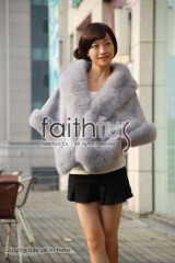 Rex Rabbit Fur Cape with Fox Fur trimmed