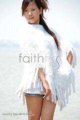 White Mink Fur Knitted Cape/Poncho