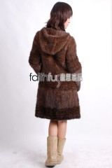 Hooded 3/4 Length Knitted Mink Fur Long Overcoat