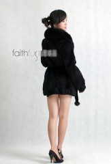 Sheared Rabbit Fur Jacket with Fox Fur collar