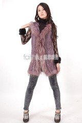 Hooded Rabbit Fur Knitted Vest with Racoon Fur trimmed