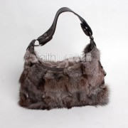 Silver Blue Fox Fur Handbag / Purse
