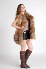 Rabbit Fur Vest with Racoon Fur Trim