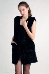 Hooded Mink Fur Knitted Vest
