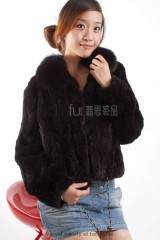 Rex Rabbit fur Jacket with Fox fur collar