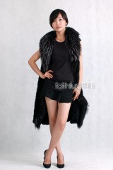 Mink Fur Knitted Long Vest/Waistcoat with Racoon Fur trimmed