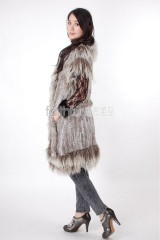 Long Rabbit Fur Knitted Vest with Tibet Sheep Fur trimmed