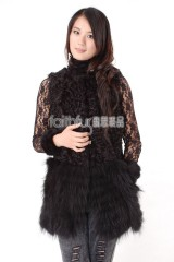 Sheep Fur Vest with Racoon Fur Lap