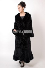 Full Length Mink Fur Knitted Long Coat