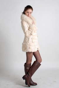 Rabbit Fur Jacket with Fox Fur Collar