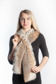 Ladies Winter Real Lynx Fur Scarf Stole Shawl Muffler Natural Color