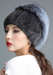 Knitted Mink Fur Hat Decorated with Silver Fox Fur